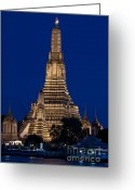 Siamese Photo Greeting Cards - Wat Arun At Bangkok Thailand Greeting Card by Phatthanun Srisombut