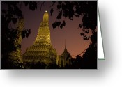 Asian Architecture And Art Greeting Cards - Wat Arun, Temple Of The Dawn, At Sunset Greeting Card by Paul Chesley