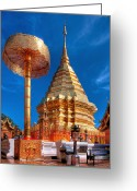 Buddhist Digital Art Greeting Cards - Wat Phrathat Doi Suthep Greeting Card by Adrian Evans