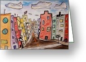 Sky.  Clouds Drawings Greeting Cards - Watch the Crosswalk Greeting Card by Mary Carol Williams