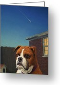 Boxer Greeting Cards - Watchdog Greeting Card by James W Johnson