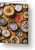 Pointing Greeting Cards - Watches and compasses  Greeting Card by Garry Gay