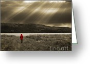 Coat Greeting Cards - Watching In Red Greeting Card by Meirion Matthias