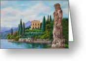 Lake Como Greeting Cards - Watching Over Lake Como Greeting Card by Charlotte Blanchard
