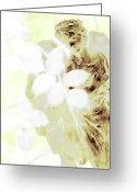 Guardian Angel Mixed Media Greeting Cards - Watching Over Me In Light Greeting Card by Angelina Vick