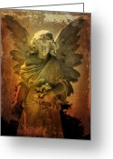 Cemetery Greeting Cards - Watching Over Me Greeting Card by Leah Moore