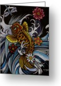 Aquatic Flower Greeting Cards - Watching Over Natilius Greeting Card by Maria Arango