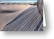 Sand Fences Photo Greeting Cards - Watching Shadows Greeting Card by JC Findley