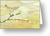 Sparrow Greeting Cards - Watching the Clouds No 3 Greeting Card by Jennifer Lommers