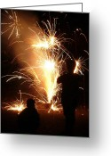 4th July Greeting Cards - Watching the Fireworks Greeting Card by Lori Seaman