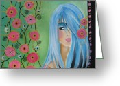 Grid Mixed Media Greeting Cards - Watching the grid grow Greeting Card by Johanna Virtanen