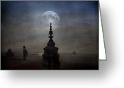All Greeting Cards - Watching the Moon Greeting Card by H Kopp-Delaney
