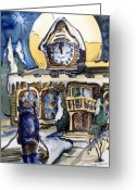 Clock Drawings Greeting Cards - Watching the Village Clock Greeting Card by Mindy Newman