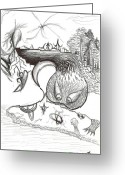 Surrealism Drawings Greeting Cards - Watching You Greeting Card by Alfredo  Ott