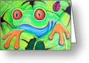 Red-eyed Frogs Greeting Cards - Watching You Red Eyed Tree Frog Greeting Card by Nick Gustafson