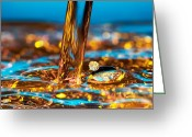 Drop Greeting Cards - Water And Oil Greeting Card by Setsiri Silapasuwanchai
