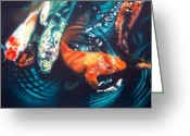 Fish Pond Painting Greeting Cards - Water Ballet Greeting Card by Denny Bond