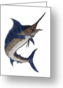 Animal Sport Greeting Cards - Water Color Tribal Marlin III Greeting Card by Carol Lynne