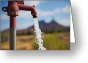 Pouring Greeting Cards - Water Coming From Faucet Greeting Card by Thom Gourley/Flatbread Images, LLC