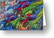 Fit Pastels Greeting Cards - Water Creature Jumble Greeting Card by Emily Michaud