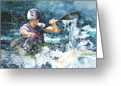Sports Art Drawings Greeting Cards - Water Fight Greeting Card by Miki De Goodaboom