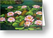 Dominica Alcantara Greeting Cards - Water Lilies Greeting Card by Dominica Alcantara