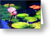 Lilies Flowers Greeting Cards - Water Lilies Greeting Card by Harry Spitz