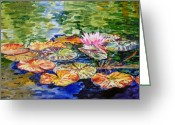 Irina Greeting Cards - Water Lilies Greeting Card by Irina Sztukowski