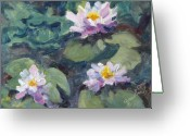 Lily Pad Greeting Cards Greeting Cards - Water Lilies Greeting Card by Zanobia Shalks