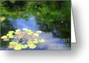 Lilly Pad Greeting Cards - Water Lilly Garden Greeting Card by Christine MacLellan