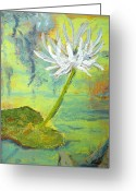 Lilly Pad Painting Greeting Cards - Water Lilly  Greeting Card by Nyiece Pregeant Owens