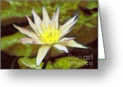 Blue_tit Greeting Cards - Water lily Greeting Card by Odon Czintos