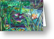 Purples Mixed Media Greeting Cards - Water Lily Pond Greeting Card by Mindy Newman