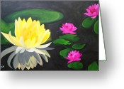 Lilly Pad Painting Greeting Cards - Water Lily Pond  Greeting Card by Una  Miller