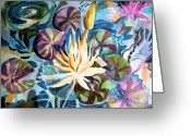 Pads Drawings Greeting Cards - Water Lily Reflections Greeting Card by Mindy Newman