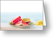 Serving Piece Greeting Cards - Water melon Greeting Card by Tom Gowanlock