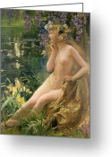Erotica Painting Greeting Cards - Water Nymph Greeting Card by Gaston Bussiere