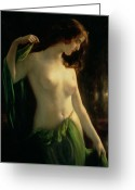 Breasts Greeting Cards - Water Nymph Greeting Card by Otto Theodor Gustav Lingner