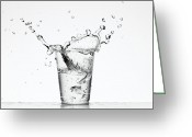Overflowing Greeting Cards - Water Overflowing Cup Greeting Card by Zing Images