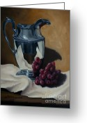 Silver Pitcher Greeting Cards - Water Pitcher With Fruit Greeting Card by Lisa Phillips Owens