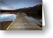 Snow Capped Digital Art Greeting Cards - Water reflections at Pyramid Lake Greeting Card by Mark Duffy