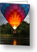 Great Falls Greeting Cards - Water Scrapping Hot Air Balloons Greeting Card by Bob Orsillo