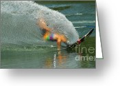 Sports Art Photo Greeting Cards - Water Skiing 5 Magic of Water Greeting Card by Bob Christopher