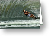 Water Athletes Greeting Cards - Water Skiing Magic of Water 1 Greeting Card by Bob Christopher