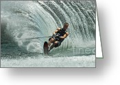 Water Athletes Greeting Cards - Water Skiing Magic of Water 10 Greeting Card by Bob Christopher
