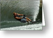 Water Athletes Greeting Cards - Water Skiing Magic of Water 11 Greeting Card by Bob Christopher
