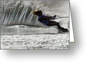 Water Athletes Greeting Cards - Water Skiing Magic of Water 12 Greeting Card by Bob Christopher