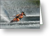 Water Athletes Greeting Cards - Water Skiing Magic of Water 15 Greeting Card by Bob Christopher