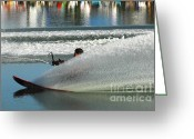Water Athletes Greeting Cards - Water Skiing Magic of Water 17 Greeting Card by Bob Christopher