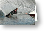 Water Athletes Greeting Cards - Water Skiing Magic of Water 19 Greeting Card by Bob Christopher
